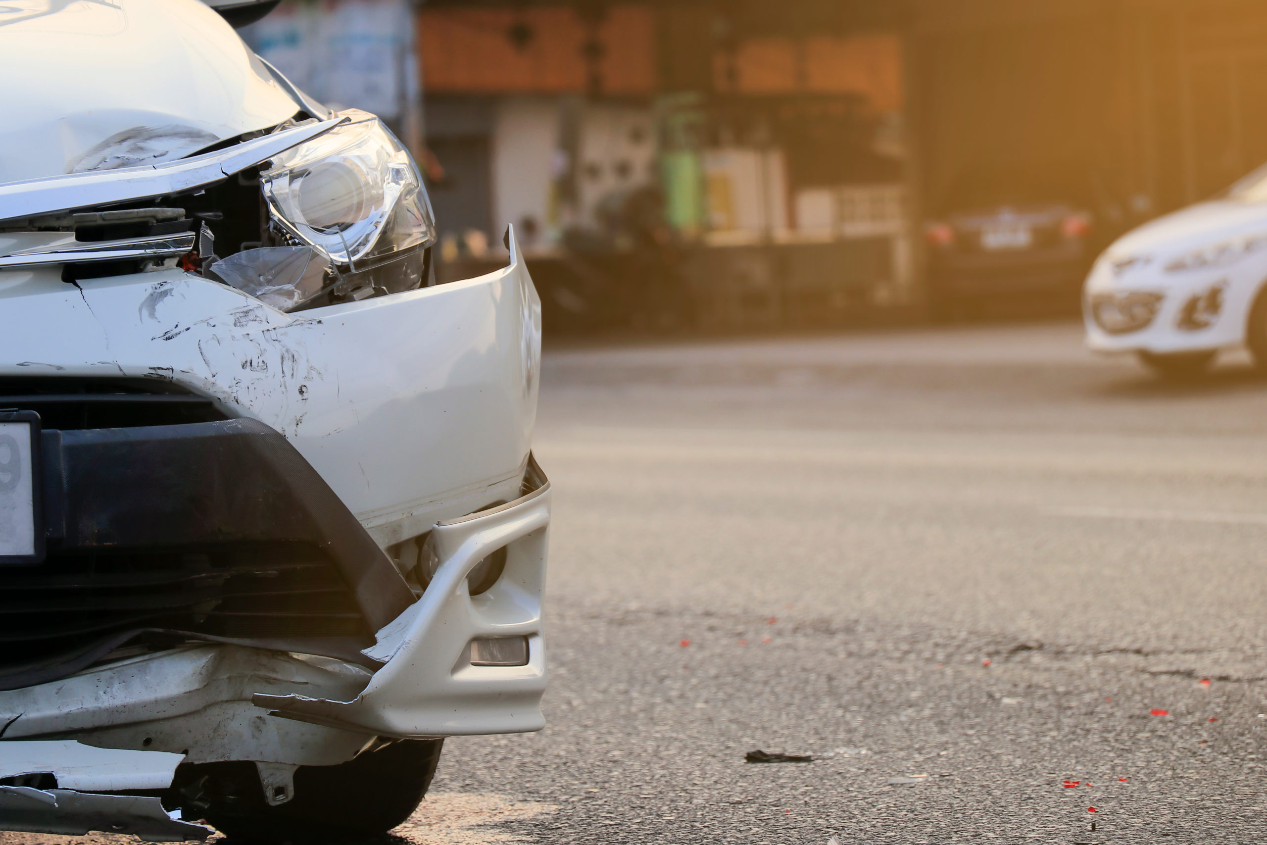 front bumper damage on a fleet car after a road accident
